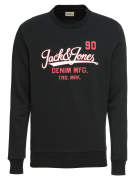 JACK & JONES, Heren Sweatshirt 'JJELOGO SWEAT CREW NECK TWO', zwart